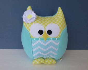 Owl Pillow - Light Aqua & Yellow