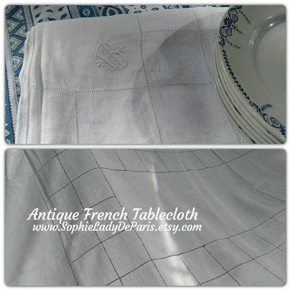 "Long White Antique French Crepe Linen Tablecloth Monogram Hand Embroidered 94"" #sophieladydeparis"