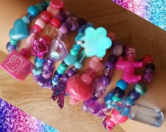 Deluxe Lot of 10 Pink,purple and blue kandi bracelets, kandi singles, edc kandi, rave outfit
