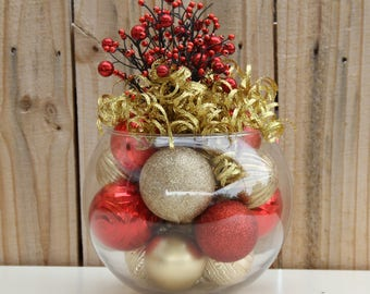 Christmas Centerpiece - Red and Gold Holiday Decor