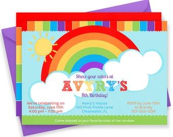 Rainbow Invitation, Rainbow Party, Rainbow Birthday Invitation, Rainbow Birthday, Rainbow Birthday Party, Rainbow Invites, Rainbow Baby |413