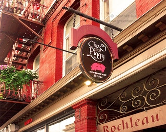 Chez Piggy Kingston - Wall Decor - Fine Art Photography Print - Kingston, Canada, Red, Pink, Restaurant Sign, Bricks