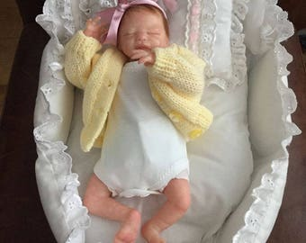 Micro, reborn doll, Zachy by Marita Winters 9.5 inches reborned by me boy/girl in crib