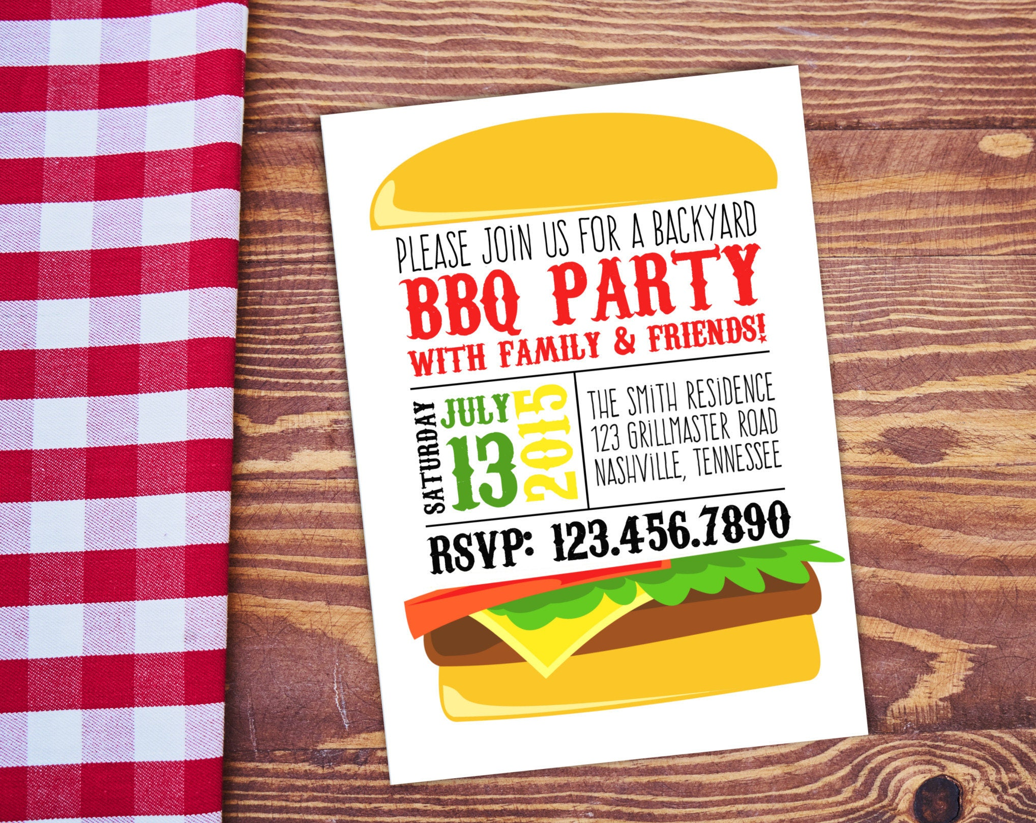 bbq invite personalized printable white backyard bbq