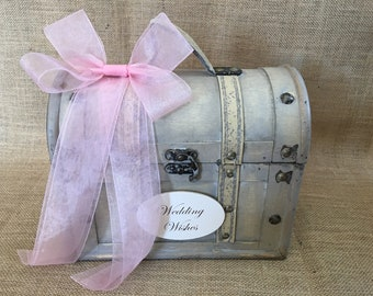 Pick your ribbon color-Small Shabby Chic Wedding Wishes Trunk, Wedding Advice Box, Guest Book Alternative, Wedding Wishing Well, Wish Box