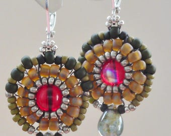 Vintage beaded earrings in red, green and silver