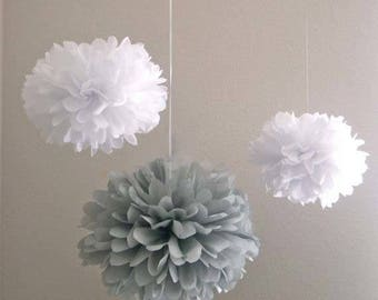 Grey White Tissue Paper Pom Pom Wedding Birthday Party Anniversary Engagement Christening Baptism Bridal Shower Decor