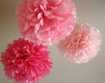18x Mixed Size Pink Shade Tissue Paper Pom Poms Girl's First 21st Birthday Party Baby Shower Nursery Home Bridal Shower Decoration