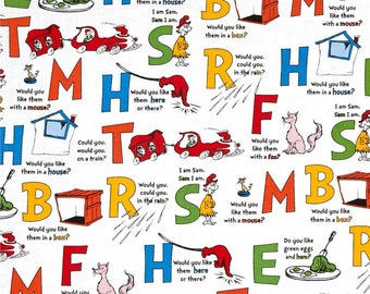 Dr Seuss Green Eggs and Ham, SAM I Am Alphabet on White Quilt Fabric By-the-HALF-yard