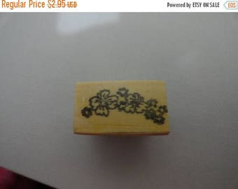 50% OFF Flower leaves stamp .5 by 1 inch Vintage Wooden rubber stamp