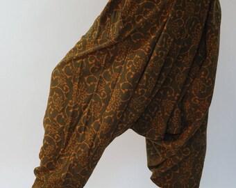 HC0466 Aladdin Pants, Harem Pants 100% Cotton Harem Pants Unisex Low Crotch Yoga Trousers