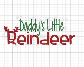 Daddy's Little Reindeer SVG - Reindeer Antlers - Rudolph Nose - Cutting File - Cute Font - Cricut - Cameo