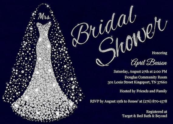 Navy silver bridal shower invitation diamond wedding dress il570xn filmwisefo