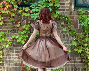 1950s VINTAGE Dress / 50s Prom dress / Organza / Tulle / Cupcake / Embroidered / Woodland Fairy