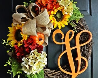 The Orange Felicity Fall Wreath, Autumn Wreath, Fall Wreath, Sunflower Wreath, Burlap Wreath, Monogram Wreath, Hydrangea, Thanksgiving