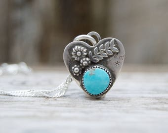 Soldered Small Sterling Silver Heart Rustic Necklace. Kingman Turquoise . Rustic  . Relics . Stamped