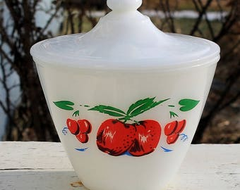 Fabulous Vintage Apples and Cherries Bowl Grease Jar with Lid by Fire King Anchor Hocking
