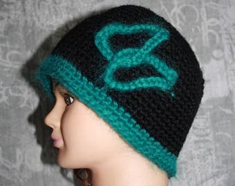 Black Hat with turquoise embroidery