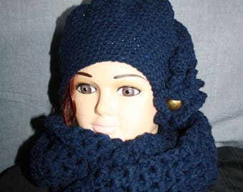 set of beret and snood 2 turns of the neck