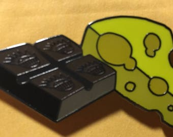 """1.5"""" Chocolate and Cheese Ween pin.. Boognish Dean Ween Group"""