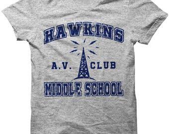 Stranger Things Shirt T-Shirt Hawkins Middle School AV Club Eleven Dustin Will Demogorgon Eggo Adult Gifts Accessories Clothing Apparel