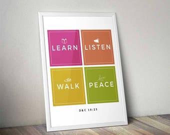 2018 LDS Young Women Mutual Theme Kit | Peace In Me Mutual Theme | Modern Icon | LDS Printables | Mormon Art | D&C 19:23