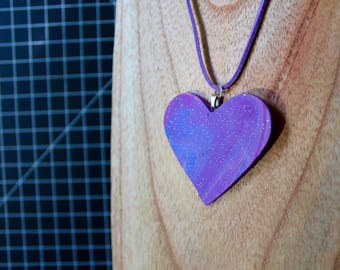 handmade polymer clay blue and purple glitter necklace