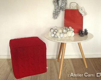 Red twisted knit pouf cover