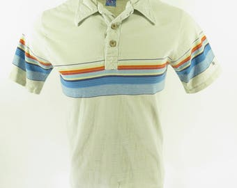 Vintage 70s Ocean Pacific Surf Skate Shirt Mens L Board Stripe Gray Embroidered [H78R_0-8]