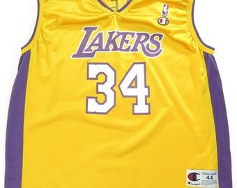 9352589b6 ... Nick Van Exel 9 NBA Basketball Jersey Adult 40 Gold Vintage 90s Los  Angeles Lakers Champion Jersey L NBA Basketball O Neal Mesh H75X0- ...