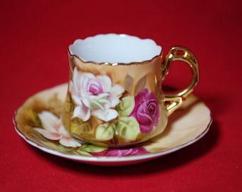 Vintage Lefton Demitasse Tea Cup, Porcelain Tea Cup and Saucer, Bridal Tea Party, Wedding Table, Japanese Tea Set, Japanese Porcelain
