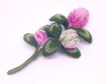 """Brooch wool """"clover flower"""" Handmade"""
