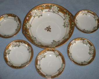 Antique Nippon Hand Painted Gold White Roses Berry Dessert Bowl 6 pc Set