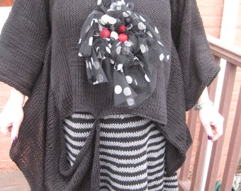 Hand Knitted Lagenlook Asymmetrical Black Tunic/Sweater