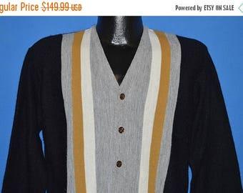 ON SALE 60s Campus Gray Black Rockabilly Cardigan Sweater Medium