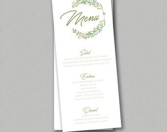Wedding Menu - Wreath, Greenery, Classic, Rustic