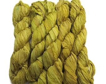 SALE New! Recycled Sari Silk Ribbon, Citron