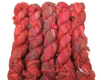 SALE 50g Recycled Sari Silk Ribbon, Paprika