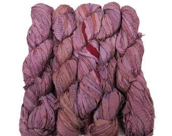 SALE New! Recycled Sari Silk Ribbon, color: Antique Rose