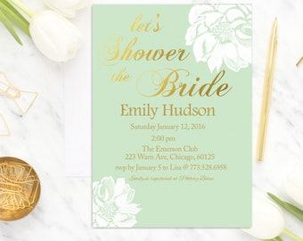 Mint Floral Bridal Shower Invitation, Mint and Gold Bridal Shower Invite, Flower Bridal Shower Invitation, Wedding Shower Invitation