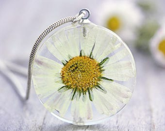 Daisy Necklace Real Flower Pendant Dried Flower Petal Jewelry Daisies Pressed Flower Specimen Ecofriendly Resin Botanist Nature Gift