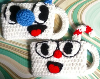 Cuphead and Mugman Cup Cozy. Made to order