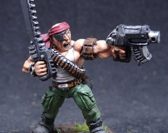 Catachan Jungle Fighter Captain. Imperial Guard for Warhammer 40,000. Hand Painted Miniature from Games Workshop