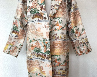 1950's Ornate Pagoda Print Coat