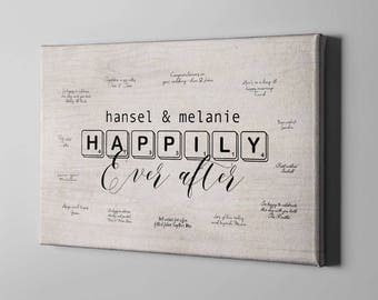 SALE 50% Off Canvas Guest Book, Happily Ever After Signature GuestBook, Unique GuestBook Alternative, Cute Anniversary Gift Ideas - CGB180