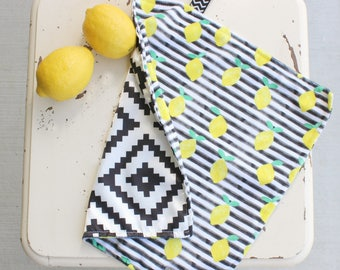 Lemon Baby Blanket - Aztec Baby Blanket - Satin Lovey - Satin Blanket - Minky Blanket - Minky Lovey - Modern Baby Blanket - Boy Blanket