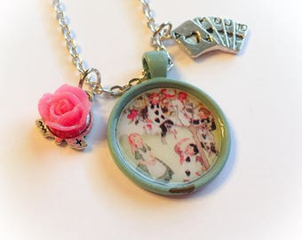 Painting the roses, alice in wonderland inspired, disney inspired, disney jewelry, disney necklace, wonderland, alice in wonderland jewelry