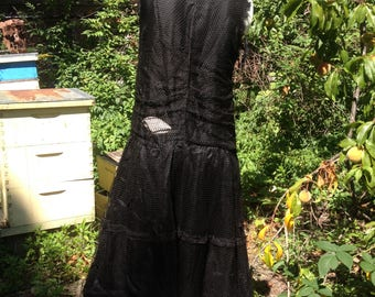 1920s flapper black silk and lace dress