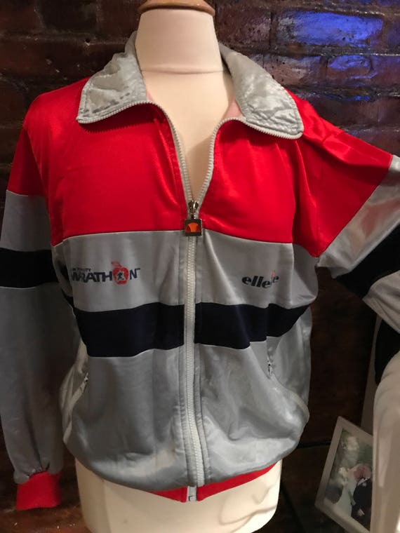 Rare Vintage 80's Ellesse Jacket with NYC marathon design logo red gray and black
