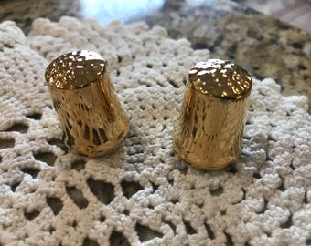 Vintage set of two bone china thimbles. Gold plated